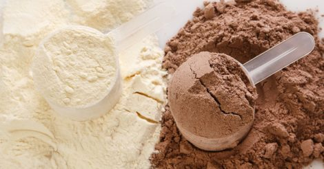 Image of vanilla and chocolate whey protein.