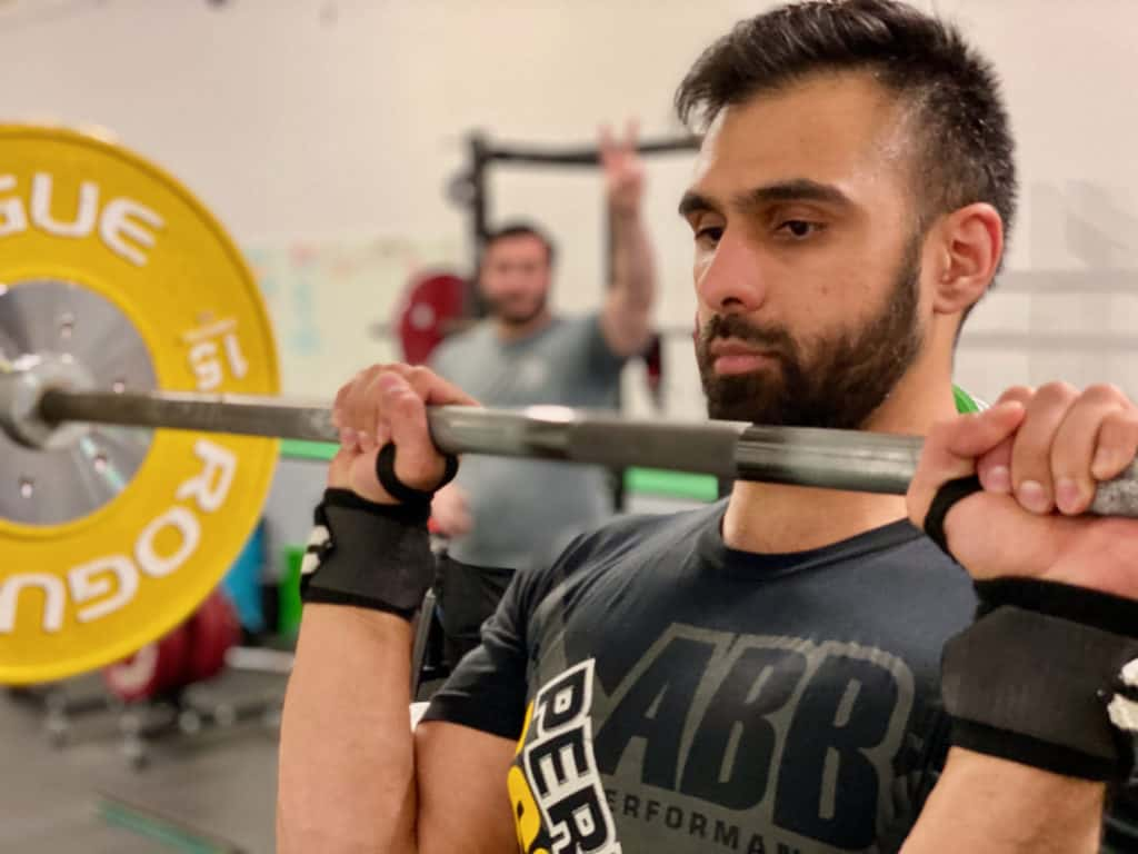 Amir preparing to press